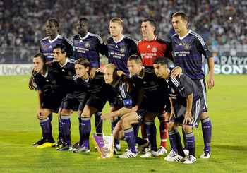 BELGRADE, SERBIA - AUGUST 18: Team of RSC Anderlecht during the Champions League Play-off match between Partizan and Anderlecht at Partizan Stadium on August 18, 2010 in Belgrade, Serbia.  (Photo by Claudio Villa/Getty Images)