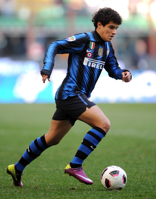MILAN, ITALY - MARCH 20:  Coutinho of Inter Milan in action during the Serie A match between FC Internazionale Milano and Lecce at Stadio Giuseppe Meazza on March 20, 2011 in Milan, Italy.  (Photo by Tullio M. Puglia/Getty Images)