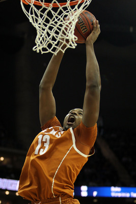 KANSAS CITY, MO - MARCH 12:  Tristan Thompson #13 of the Texas Longhorns goes up for a shot against the Kansas Jayhawks in the first half of the 2011 Phillips 66 Big 12 Men's Basketball Tournament championship game at Sprint Center on March 12, 2011 in Ka