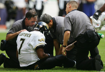 HOUSTON, TX - OCTOBER 31:  Byron Leftwich #7 of the Jacksonville Jaguars gets attended to after getting injured in the first hafl of the game against the Houston Texans won by the Texans 20-6 on October 31, 2004 at the Reliant Stadium in Houston, Texas.
