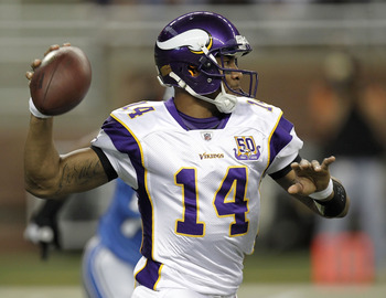 DETROIT, MI - JANUARY 02:  Joe Webb #14 of the Minnesota Vikings throws a first quarter pass while playing the Detroit Lions at Ford Field on January 2, 2011 in Detroit, Michigan.  (Photo by Gregory Shamus/Getty Images)