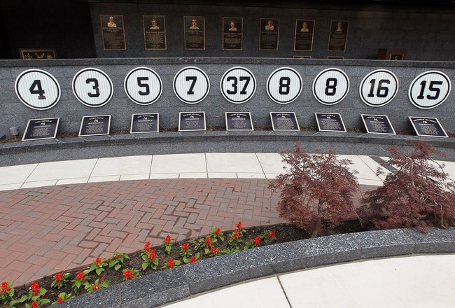 NEW YORK - MAY 02:  Retired numbers and plaques are seen in Monument Park at Yankee Stadium prior to game between the New York Yankees and the Chicago White Sox on May 2, 2010 in the Bronx borough of New York City. The Yankees defeated the White Sox 12-3.