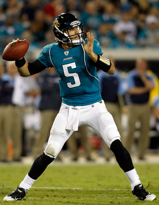 JACKSONVILLE, FL - OCTOBER 18:  Quarterback Trent Edwards #5 of the Jacksonville Jaguars throws a pass against the Tennessee Titans during the game at EverBank Field on October 18, 2010 in Jacksonville, Florida.  (Photo by J. Meric/Getty Images)