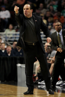 CHICAGO, IL - MARCH 20:  Head coach Mike Brey of the Notre Dame Fighting Irish reacts in the second half of the game against the Florida State Seminoles during the third round of the 2011 NCAA men's basketball tournament at the United Center on March 20,