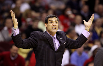 CLEVELAND, OH - MARCH 18: Head coach Jay Wright of the Villanova Wildcats reacts during the game against the George Mason Patriots during the second round of the 2011 NCAA men's basketball tournament at Quicken Loans Arena on March 18, 2011 in Cleveland,