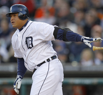 DETROIT, MI - MAY 04: Miguel Cabrera #24 of the Detroit Tigers watches a double that scores a run in the third inning while playing the New York Yankees at Comerica Park on May 4, 2011 in Detroit, Michigan. Detroit won the game 4-0. (Photo by Gregory Sham
