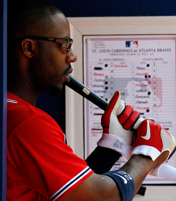 ATLANTA, GA - MAY 01:  Jason Heyward #22 of the Atlanta Braves waits to bat against the St. Louis Cardinals at Turner Field on May 1, 2011 in Atlanta, Georgia.  (Photo by Kevin C. Cox/Getty Images)