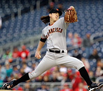 WASHINGTON, DC - APRIL 29:  Starting pitcher Tim Lincecum #55 of the San Francisco Giants delivers to a Washington Nationals batter at Nationals Park on April 29, 2011 in Washington, DC.  (Photo by Rob Carr/Getty Images)