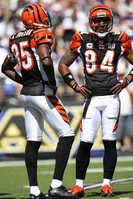BALTIMORE - SEPTEMBER 7: Wide receivers Chad Johnson #85 and T.J. Houshmandzadeh of the Cincinnati Bengals stand on the field against the Baltimore Ravens at M&T Bank Stadium on September 7, 2008 in Baltimore, Maryland. The Ravens won 17-10. (Photo by Ned