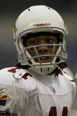 SEATTLE - DECEMBER 26:  Larry Fitzgerald #11 of the Arizona Cardinals is seen during the game against the Seattle Seahawks at Qwest Field on December 26, 2004 in Seattle, Washington. The Seahawks defeated the Cardinals 24-21.  (Photo by Otto Greule Jr/Get