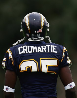 SAN DIEGO - JULY 31:  Rookie Cornerback Antonio Cromartie looks on during the San Diego Chargers' Training Camp on July 31, 2006 at Charger Park in San Diego, California.  (Photo by Donald Miralle/Getty Images)