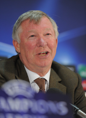 MANCHESTER, ENGLAND - MAY 03:  Sir Alex Ferguson speaks to the media during a press conference ahead of their UEFA Champions League semi final second leg match against Schalke 04 at the Carrington Training Ground on May 3, 2011 in Manchester, England.  (P