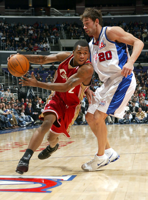 LOS ANGELES - NOVEMBER 29:  Dajuan Wagner #2 of the Cleveland Cavaliers tries to get past Marko Jaric #20 of the Los Angeles Clippers in NBA action November 29, 2004 at Staples Center in Los Angeles, California. NOTE TO USER: User expressly acknowledges a