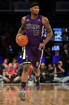 LOS ANGELES, CA - FEBRUARY 18:  DeMarcus Cousins #15 of the Sacramento Kings and the Rookie Team moves the ball in the first half during the T-Mobile Rookie Challenge and Youth Jam at Staples Center on February 18, 2011 in Los Angeles, California.  (Photo