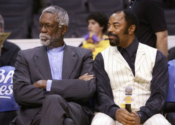 LOS ANGELES - MAY 4:  NBA Legends William 'Bill' Russell (L) and Walt Frazier interview with Lakers TV before the Los Angeles Lakers play against the Phoenix Suns in game six of the Western Conference Quarterfinals during the 2006 NBA Playoffs on May 4, 2