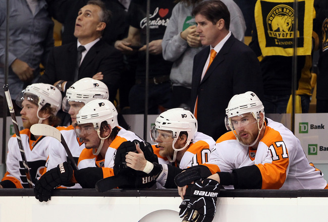 BOSTON, MA - MAY 04: Nikolay Zherdev #93, Kris Versteeg #10 and Jeff Carter #17 of the Philadelphia Flyers look on late in the third period against the Boston Bruins  in Game Three of the Eastern Conference Semifinals during the 2011 NHL Stanley Cup Playo