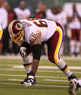 EAST RUTHERFORD, NJ - AUGUST Derrick Dockery #66 of the Washington Redskins  in action against the New York Jets during their preseason game on August 27, 2010 at the New Meadowlands Stadium  in East Rutherford, New Jersey.  (Photo by Al Bello/Getty Image