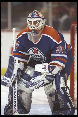 10 Dec 1995:  Goaltender Bill Ranford of the Edmonton Oilers looks on during a game against the Anaheim Mighty Ducks at Arrowhead Pond in Anaheim, California.  The Oilers won the game, 3-1. Mandatory Credit: Jamie Squire  /Allsport