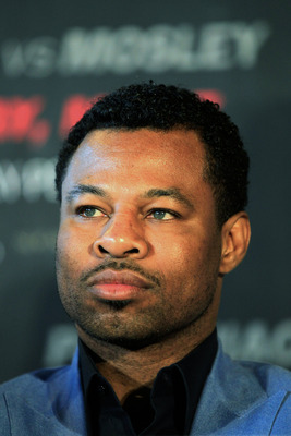 NEW YORK, NY - FEBRUARY 14:  Shane Mosley looks on at a press conference to promote his upcoming fight with Manny Pacquiao at The Lighthouse at Chelsea Piers on February 14, 2011 in New York City.  (Photo by Chris Trotman/Getty Images)