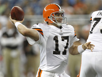 DETROIT - AUGUST 28:  Jake Delhomme #17 of the Cleveland Browns throws a first quarter pass while playing the Detroit Lions during preseason game on August 28, 2010 at Ford Field in Detroit, Michigan.  (Photo by Gregory Shamus/Getty Images)