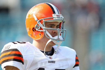 JACKSONVILLE, FL - NOVEMBER 21:  Colt McCoy #12  of the Cleveland Browns warms up during a game agaisnt the Jacksonville Jaguars at EverBank Field on November 21, 2010 in Jacksonville, Florida.  (Photo by Mike Ehrmann/Getty Images)