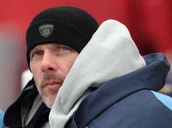 KANSAS CITY, MO - DECEMBER 26:  Quarterback Kerry Collins #5 of the Tennessee Titans looks on from the bench during the game against the Kansas City Chiefs on December 26, 2010 at Arrowhead Stadium in Kansas City, Missouri.  (Photo by Jamie Squire/Getty I