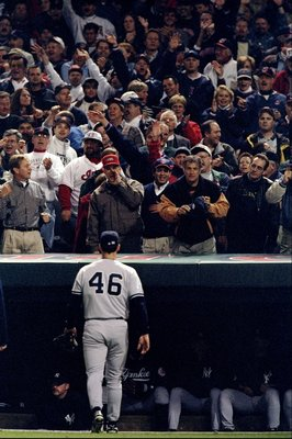 9 Oct 1998:  Pitcher Andy Petite #46 of the New York Yankees walks to the dugout during the American League Championships Series game against the Cleveland Indians at Jacobs Field in Cleveland, Ohio. The Indians defeated the Yankees 6-1. Mandatory Credit: