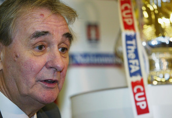 BURTON, ENGLAND - DECEMBER 4:  Brian Clough talks about the FA Cup at the Holy Trinity Primary School on December 4, 2003 in Burton-on-Trent, England. Burton Albion will play Hartlepool United in the FA Cup on Sunday. (Photo by Bryn Lennon/Getty Images)
