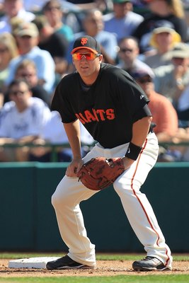 SCOTTSDALE, AZ - MARCH 04:  Brett Pill #35 of the San Francisco Giants fields against the Milwaukee Brewers during a spring training game at Scottsdale Stadium on March 4, 2010 in Scottsdale, Arizona.  (Photo by Chris McGrath/Getty Images)