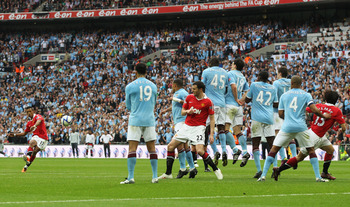 LONDON, ENGLAND - APRIL 16:  Nani of Manchester United takes a free kick during the FA Cup sponsored by E.ON semi final match between Manchester City and Manchester United at Wembley Stadium on April 16, 2011 in London, England.  (Photo by Scott Heavey/Ge