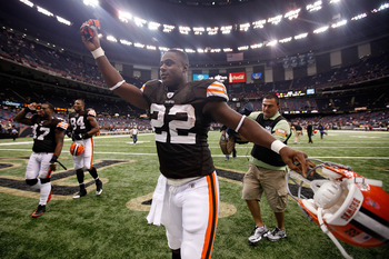 NEW ORLEANS - OCTOBER 24:  Mike Bell #22 of the Cleveland Browns celebrates after defeating the New Orleans Saints 30-17 at the Louisiana Superdome on October 24, 2010 in New Orleans, Louisiana.  (Photo by Chris Graythen/Getty Images)