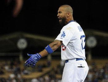 LOS ANGELES, CA - APRIL 30:  Matt Kemp #27 of the Los Angeles Dodgers reacts after he was called out at first base duriing the sixth inning against the San Diego Padres at Dodger Stadium on April 30, 2011 in Los Angeles, California.  (Photo by Harry How/G