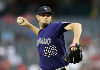 PHOENIX, AZ - MAY 05:  Starting pitcher Jason Hammel #46 of the Colorado Rockies pitches against the Arizona Diamondbacks during the Major League Baseball game at Chase Field on May 5, 2011 in Phoenix, Arizona.  (Photo by Christian Petersen/Getty Images)