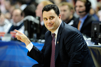 ANAHEIM, CA - MARCH 24:  Head coach Sean Miller of the Arizona Wildcats gestures from the sidelines against the Duke Blue Devils during the west regional semifinal of the 2011 NCAA men's basketball tournament at the Honda Center on March 24, 2011 in Anahe