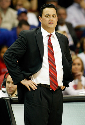 LAS VEGAS - NOVEMBER 27:  Head coach Sean Miller of the Arizona Wildcats looks on during his team's 87-79 loss to the Kansas Jayhawks in the championship game of the Las Vegas Invitational at The Orleans Arena November 27, 2010 in Las Vegas, Nevada.  (Pho