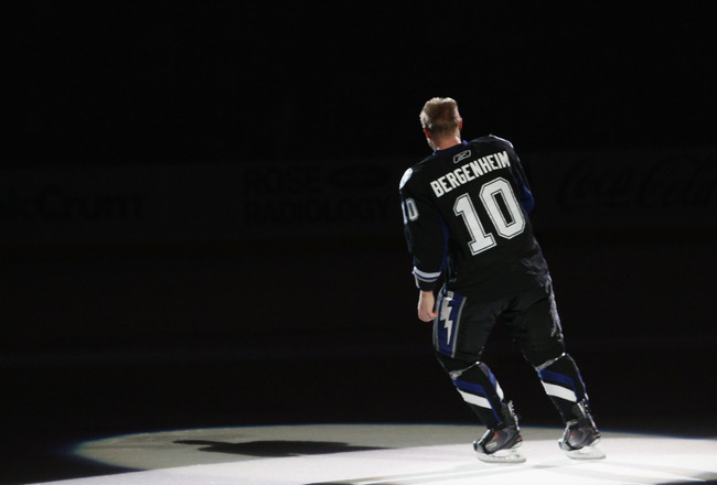 TAMPA, FL - MAY 03:  Sean Bergenheim #10 of the Tampa Bay Lightning skates out after being named the game's first star against the Washington Capitals in Game Three of the Eastern Conference Semifinals during the 2011 NHL Stanley Cup Playoffs at St Pete T