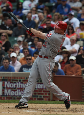 CHICAGO, IL - MAY 06: Jay Bruce #32 of the Cincinnati Reds hits a three-run home run in the 4th inning against The Chicago Cubs at Wrigley Field on May 6, 2011 in Chicago, Illinois. (Photo by Jonathan Daniel/Getty Images)