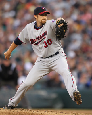 SEATTLE - AUGUST 27:  Starting pitcher Scott Baker #30 of the Minnesota Twins pitches against the Seattle Mariners at Safeco Field on August 27, 2010 in Seattle, Washington. The Twins won 6-3. (Photo by Otto Greule Jr/Getty Images)