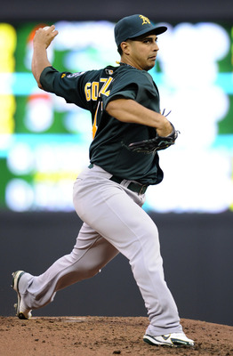 MINNEAPOLIS, MN - APRIL 9: Starting pitcher Gio Gonzalez #47 of the Oakland Athletics throws against the Minnesota Twins during the third inning of their game on April 9, 2011 at Target Field in Minneapolis, Minnesota. (Photo by Hannah Foslien/Getty Image