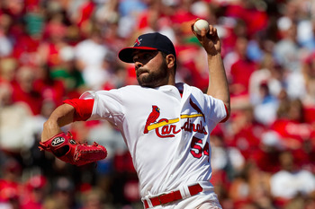 ST. LOUIS, MO - APRIL 3: Starter Jaime Garcia #54 of the St. Louis Cardinals pitches against the San Diego Padre at Busch Stadium on April 3, 2011 in St. Louis, Missouri.  (Photo by Dilip Vishwanat/Getty Images)