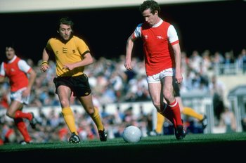 Oct 1979:  Liam Brady of Arsenal in action during a Football League Division One match against Wolverhampton Wanderers at the Molineux Grounds in Wolverhampton, England. \ Mandatory Credit: Allsport UK /Allsport