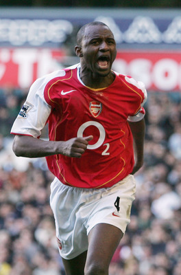 LONDON - NOVEMBER 13:  Patrick Vieira of Arsenal celebrates his goal during the Barclays Premiership match between Tottenham Hotspur and Arsenal at White Hart Lane on November 13, 2004 in London, England.  (Photo by Ian Walton/Getty Images)