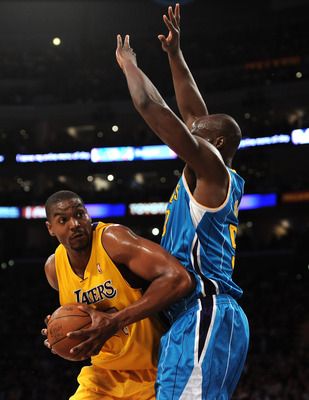 The size and strength of Laker center Andrew Bynum was problematic all series, but crippling in the final game