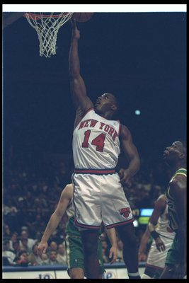 11 Mar 1995:  Forward Anthony Mason of the New York Knicks goes up for two during a game against the Seattle Supersonics at Madison Square Garden in New York City, New York.  The Supersonics won the game, 96-84. Mandatory Credit: Rick Stewart  /Allsport