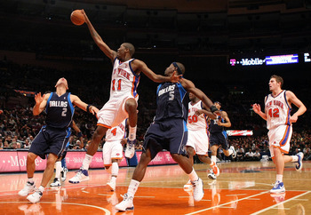 NEW YORK - NOVEMBER 16: Jamal Crawford #11 of the New York Knicks has the ball stripped against the Dallas Mavericks on November 16, 2008 at Madison Square Garden in New York City. NOTE TO USER: User expressly acknowledges and agrees that, by downloading
