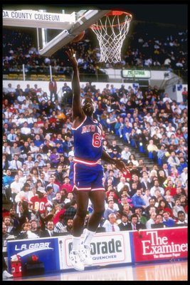 1990:  Guard Trent Tucker of the New York Knicks lays in a basket during game against the Golden State Warriors at the San Jose Arena in San Jose, California. Mandatory Credit: Otto Greule Jr.  /Allsport