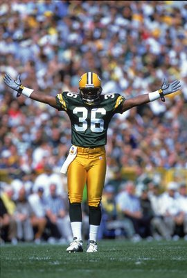 17 Sep 2000:  Leroy Butler #36 of the Green Bay Packers reacts during the game against the Philadelphia Eagles at Lambeau Field in Green Bay, Wisconsin.  The Packers defeated the Eagles 6-3.Mandatory Credit: Tom Hauck  /Allsport