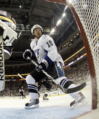 PITTSBURGH, PA - APRIL 13: Dominic Moore #19 of the Tampa Bay Lightning skates against the Pittsburgh Penguins in Game One of the Eastern Conference Quarterfinals during the 2011 NHL Stanley Cup Playoffs at Consol Energy Center on April 13, 2011 in Pittsb