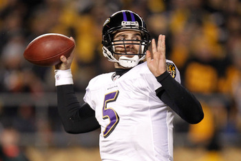 PITTSBURGH, PA - JANUARY 15:  Quarterback Joe Flacco #5 of the Baltimore Ravens looks to pass against the Pittsburgh Steelers in the AFC Divisional Playoff Game at Heinz Field on January 15, 2011 in Pittsburgh, Pennsylvania.  (Photo by Gregory Shamus/Gett