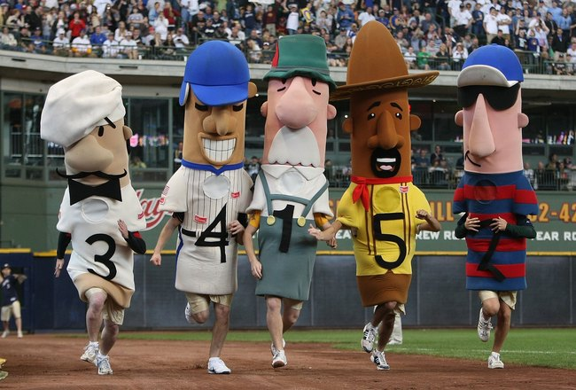 MILWAUKEE - MAY 15: The 'Racing Sausages' compete in the 6th inning of a game between the Milwaukee Brewers and the Los Angeles Dodgers on May 15, 2008 at Miller Park in Milwaukee, Wisconsin. The Dodgers defeated the Brewers 7-2. (Photo by Jonathan Daniel